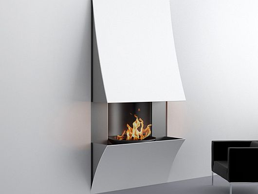 Curv Fireplace 2 Minimalist Curv Fireplaces by Julien Bergignat