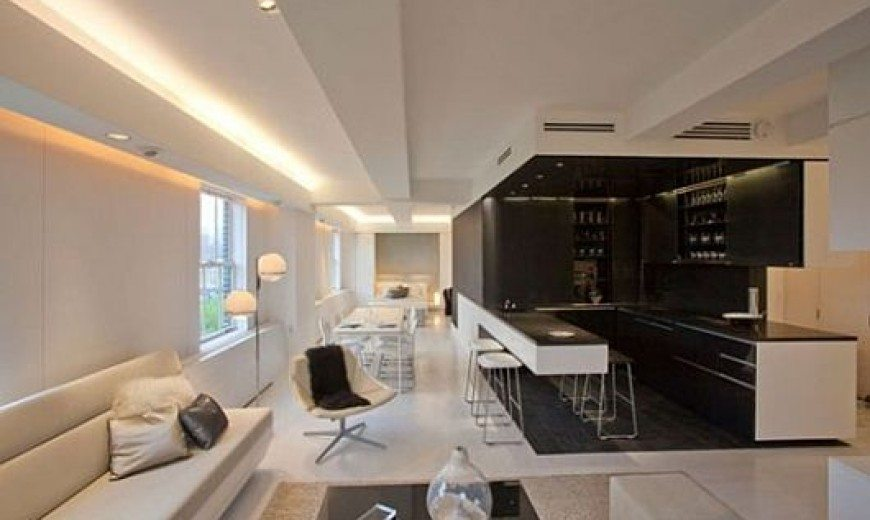 contemporary apartment with led mood lighting kitchen n