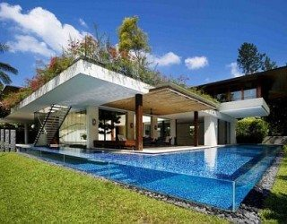 Guz Architects' Tangga House in Singapore a walk from under water til up on the hill