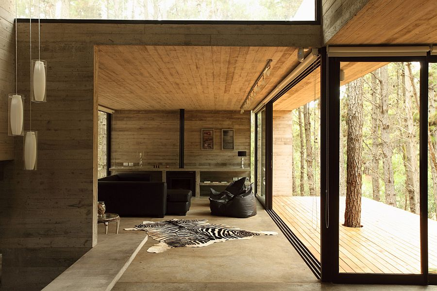 Concrete house – living room decor