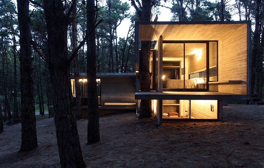 Night view Forest JD House by BAK Architects in Argentina