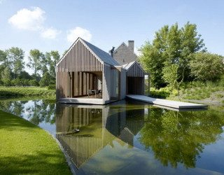 Wim Goes Lake House, wooden pavillion in Ghent, Belgium
