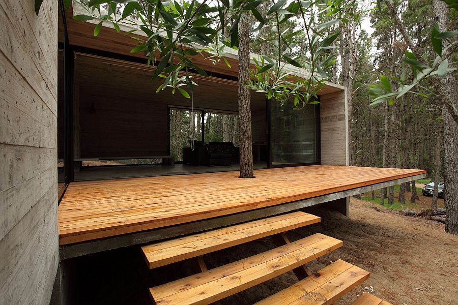 wood terrace Forest JD House by BAK Architects in Argentina