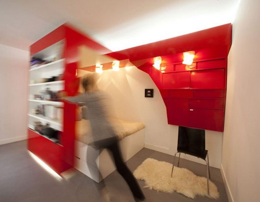 Awesome Red Nest Bed And Office All In One Small Space Solution Largest Home Design Picture Inspirations Pitcheantrous