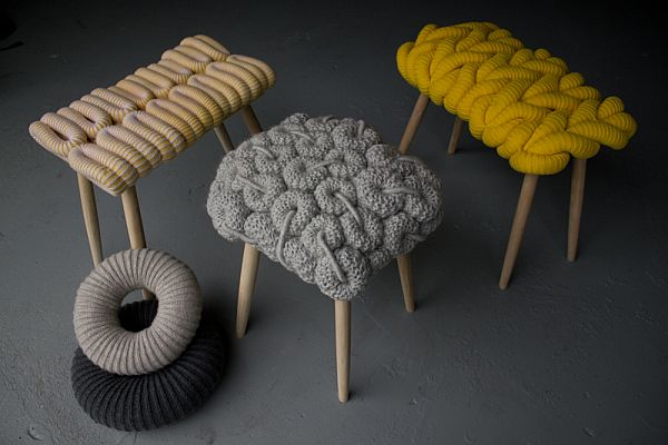 Knitted Chairs by Claire-Anne O'Brien