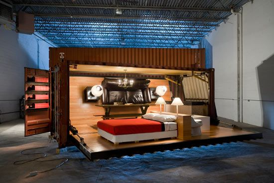 Modern Container Home With Furniture On The Walls