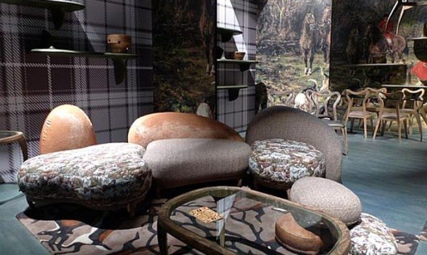 Snake Mirror and Giraffe Stools; Animal Instinct in Furniture Design