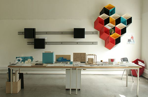 Colourful 3D wall storage 1 Colourful 3D wall storage that can replace wall art
