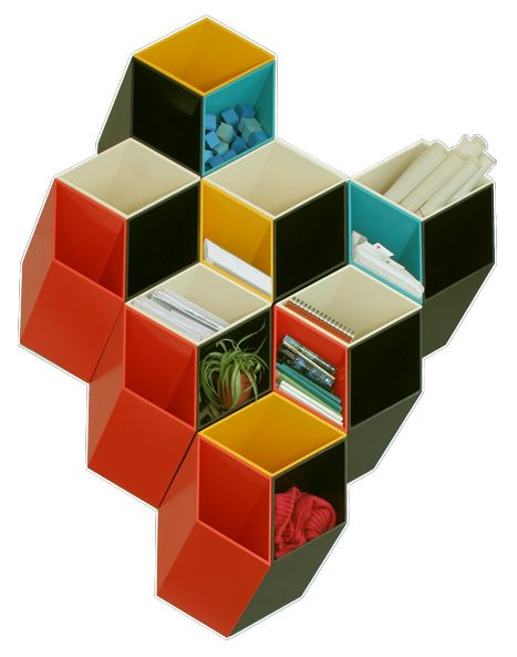 Colourful 3D wall storage 2 Colourful 3D wall storage that can replace wall art
