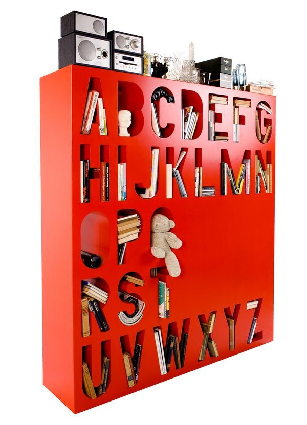 Colourful Alphabetized Storage Space 1 Colourful Room Divider Bookshelf from Lincoln Kayiwa