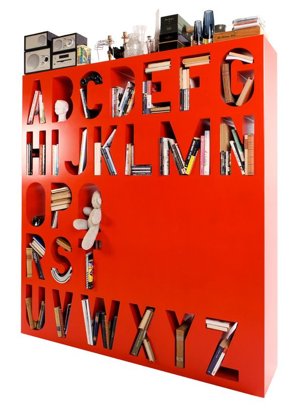 Colourful Alphabetized Storage Space 2 Colourful Room Divider Bookshelf from Lincoln Kayiwa