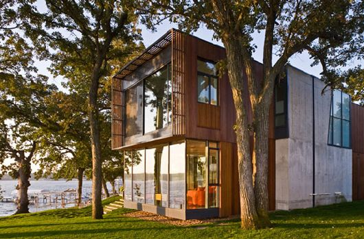 Modern Wooden House On Lake Okoboji 2 Perfectly blended modern home in rural area