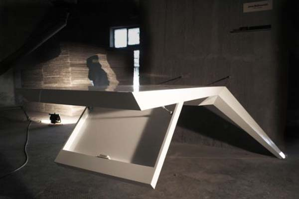 futuristic desk that seems to be levitating