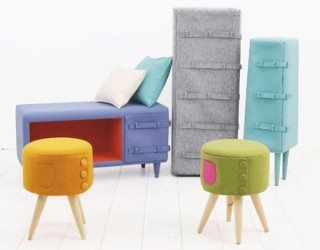 Cute and playful Button Up furniture series from Kam Kam