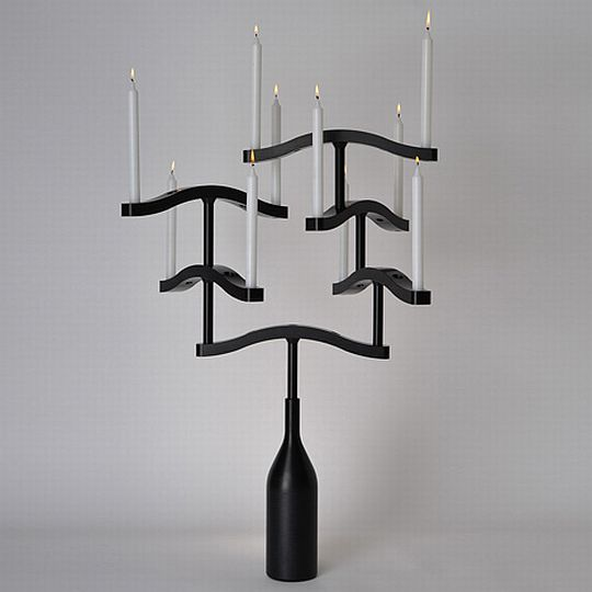 Funambule by Patrick de Glo de Besses 1 Gothic inspired Black Candle Holder