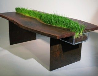 Natural wood dining table charms with green