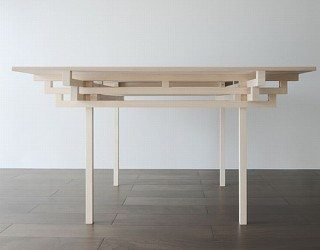 Clean and crisp table design influenced by Japanese architecture
