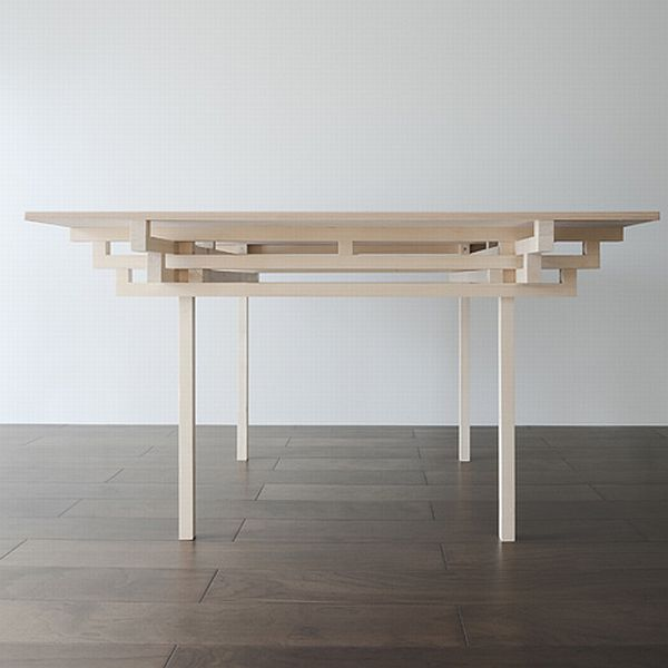 Temple Table by Hiroyuki Tanaka Architects 1 Clean and crisp table design influenced by Japanese architecture