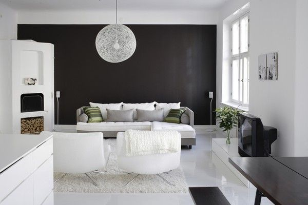 black and white open space apartment