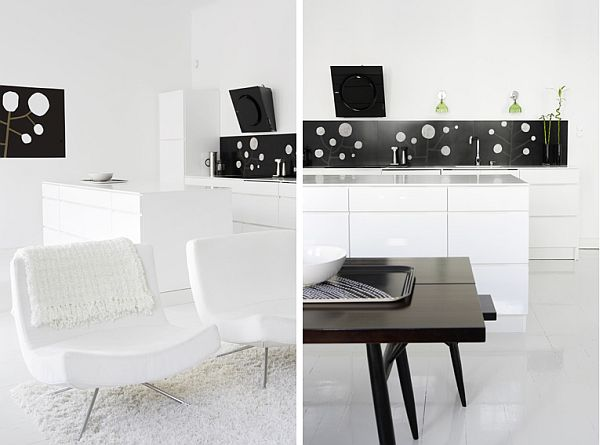 black and white open space apartment 3