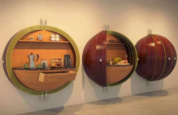 compact modular kitchen cabinets Futuristic Pod Kitchen for Crowded Spaces