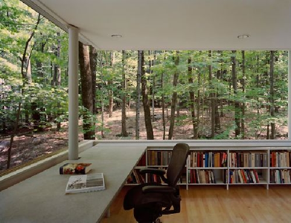library 9 Minimalist retreat and study cube in the forest