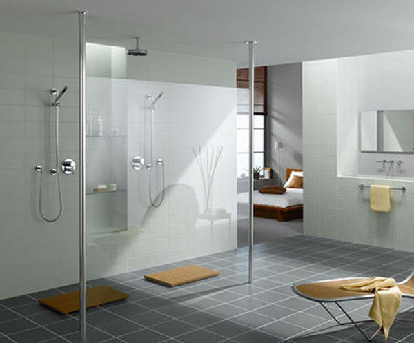 Roman showers for modern bathrooms for Bathroom designs open showers