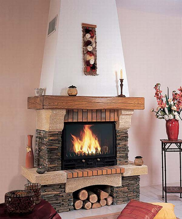 oak fireplace