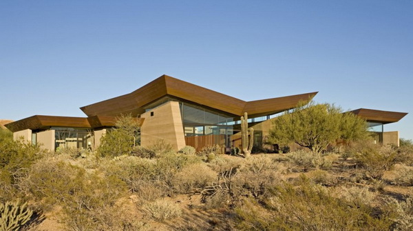 wing4 Splendid rammed earth house in Arizona