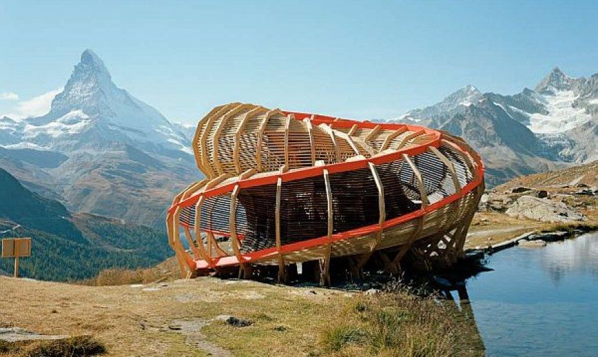 Evolver by Alice Studio: spiraling structure in the mountains