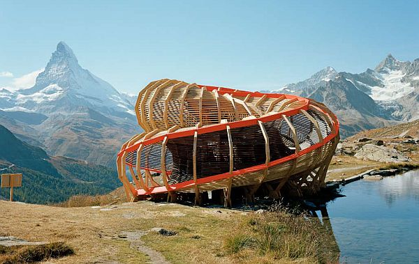 Evolver Spiraling Structure by Alice Studio 1 Evolver by Alice Studio: spiraling structure in the mountains