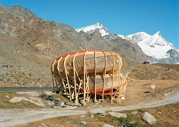 Evolver Spiraling Structure by Alice Studio 2 Evolver by Alice Studio: spiraling structure in the mountains