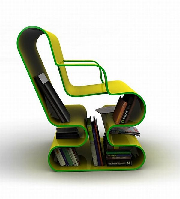 OFO chair with a built in library 1 Modern and colourful chair with a built in library (OFO Chair)