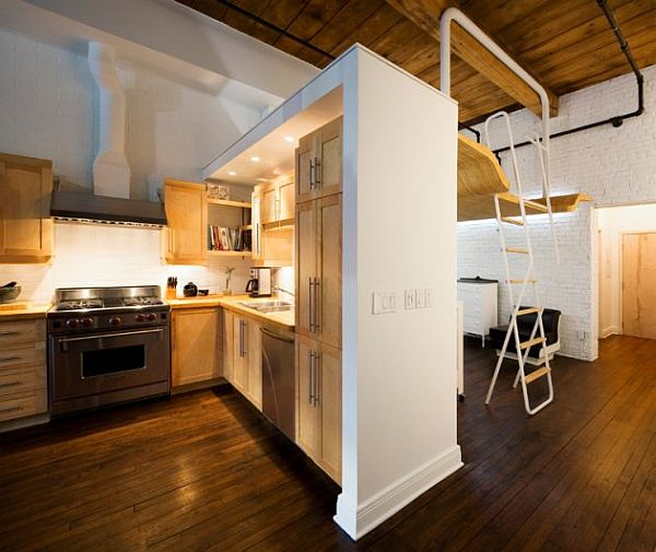 Small apartment transformed into a versatile living space - Loft bed for small apartment ...