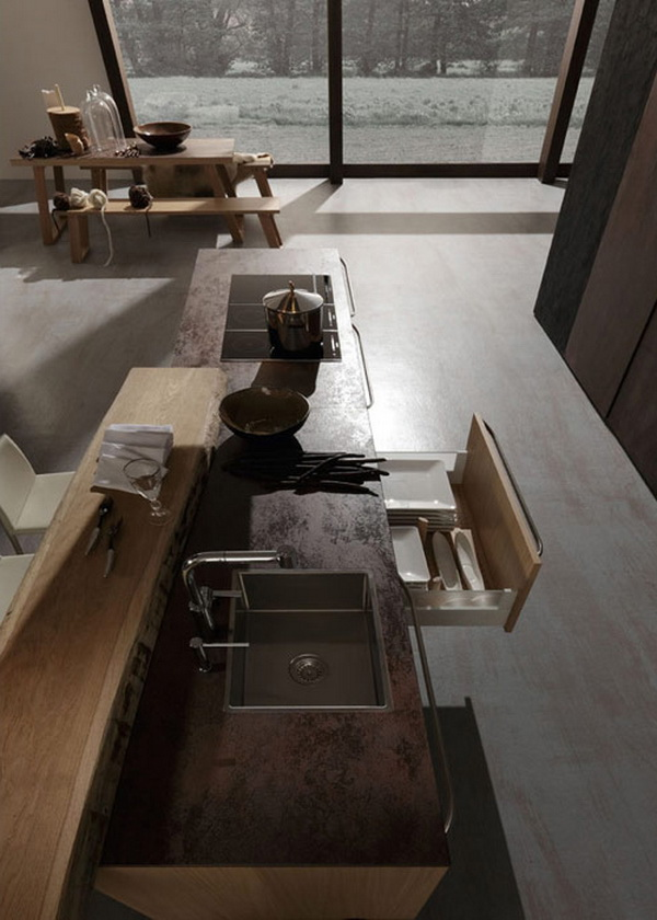 Float exquisite handcrafted kitchen collection in wood copper and - Rough And Sophisticated Rational Kitchen Suites
