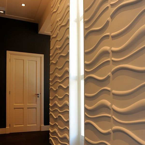 3d wallpanel 3d wallpaper 3d wallcover Waves 3D Wallpaper Made Out of Sugarcane Bagasse