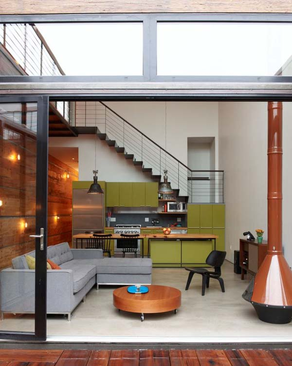 burns1 Amazing industrial bachelor home in Brooklyn