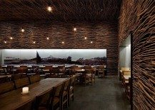 Fantastic wood, concrete and twigs restaurant design in New York City