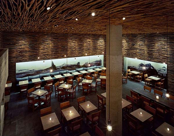 Fantastic wood concrete and twigs restaurant design in Restaurant interior design pictures