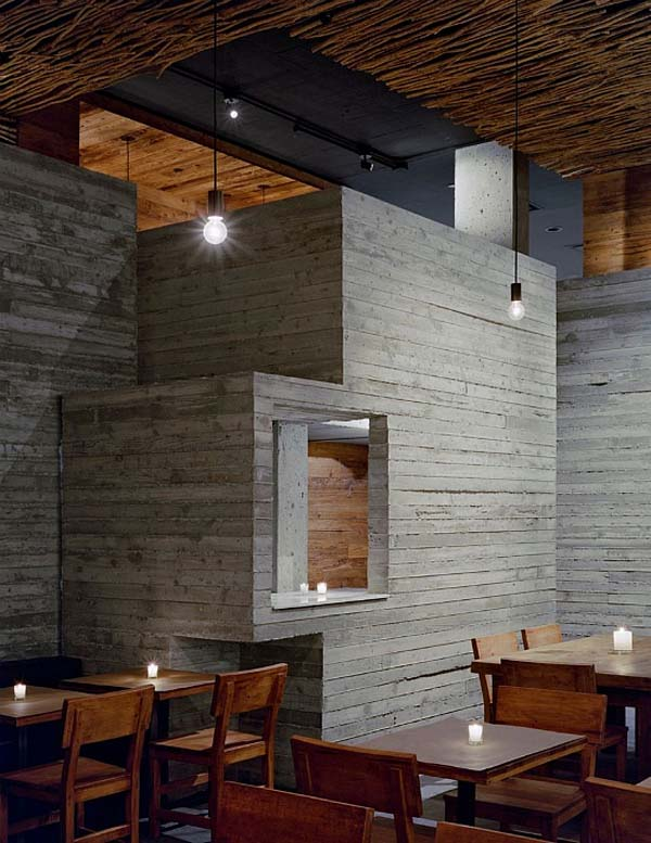 Fantastic wood concrete and twigs restaurant design in