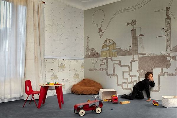 Wallpaper for the kids room by tres tintas barcelona for Kids room wall paper