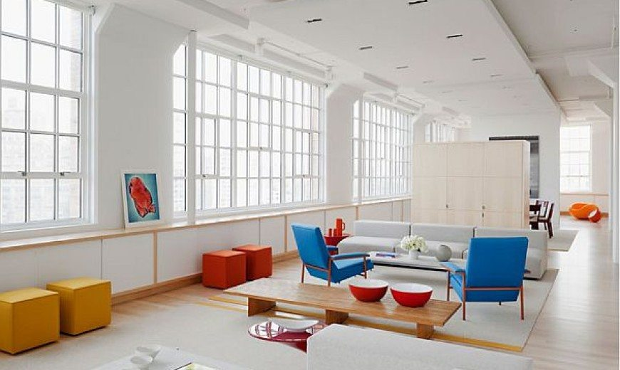 Pure white loft with bold colourful accents
