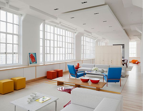 white apartment inspiration 1 Pure white loft with bold colourful accents