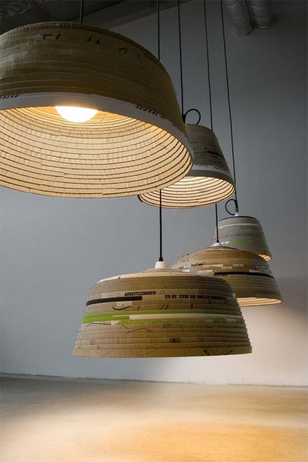 Beute Lamps  Modern recycled cardboard lamps: Beute Lamps by Michael Wolke