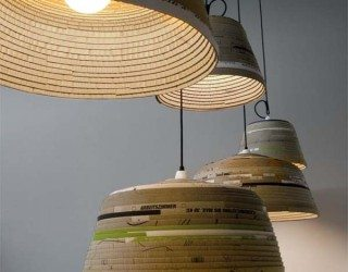 Modern recycled cardboard lamps: Beute Lamps by Michael Wolke