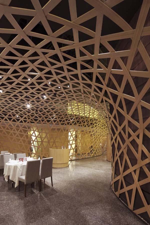 Modern restaurant design featuring cool bamboo elements