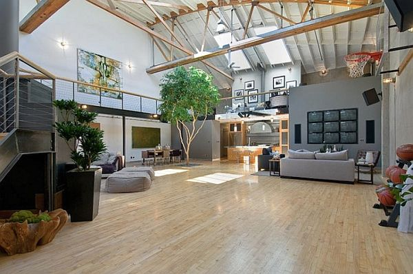 Basketball Court Living Room 2 Large Apartment Gets Personalized With Basketball Court