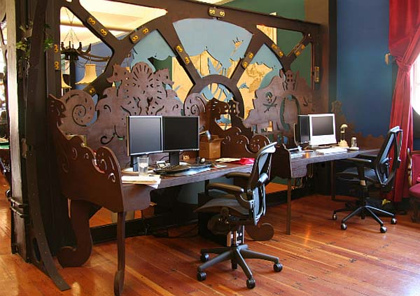 Creating Fascinating Interior Spaces With Wall Mirrors Steampunk Themed Office Space For Three