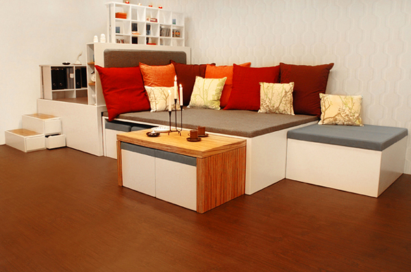 Compact allinone furniture set for urban spaces
