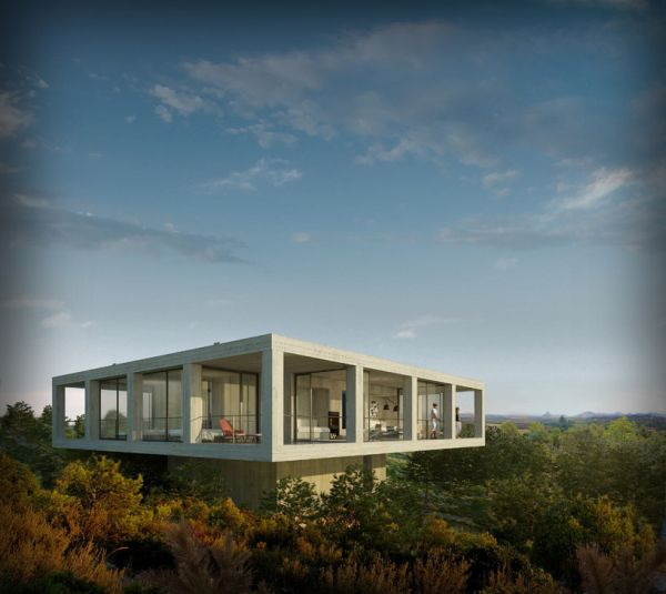 Concrete House Concrete House Softened by the Environment   The Solo House